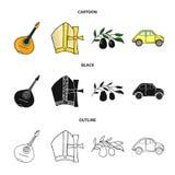 Mandolin far, oliv, retro automatisk Symboler för samling för Italien landsuppsättning i tecknade filmen, svart, materiel för sym royaltyfri illustrationer