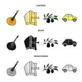 Mandolin far, oliv, retro automatisk Symboler för samling för Italien landsuppsättning i tecknade filmen, svart, monokromt stilve stock illustrationer