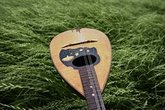 A mandolin on grass royalty free stock photo
