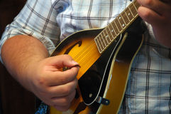 Mandolin hands 1. Man playing mandolin, close-up of hands as he plays music Royalty Free Stock Photography