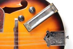 Mandolin och harpa på vit Royaltyfri Fotografi