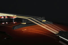 Mandolin som isoleras på svart, detalj Arkivfoton