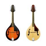 Mandoline réaliste de vecteur d'isolement sur les Mini-guitares blanches d'instrument de musique folk de mandoline dans la vue de Photo libre de droits