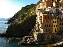 Manarola, Cinque Terre. Buildings cascade towards the ocean in Manarola, Cinque Terra, Italy Stock Photos