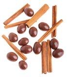 Mandorle del cioccolato e bastoni di cannella Fotografia Stock