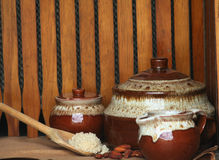 Mandorle e zucchero di Brown Fotografie Stock