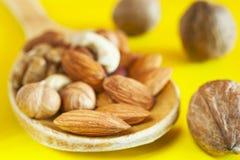 Mandorle, nocciole, noci, anacardi in un cucchiaio di legno e tre intere noci isolate su fondo giallo Organico sano fotografia stock