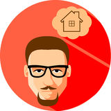 Mandrömmar av ett hus Plan stil Trendig man i exponeringsglaswi Arkivfoto
