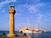 Mandraki Harbor, Rhodes Royalty Free Stock Photo