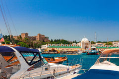 Mandraki Harbor in Rhodes. Royalty Free Stock Photo