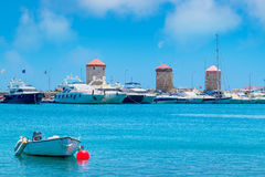 Mandraki harbor. Rhodes, Greece Royalty Free Stock Image