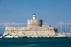 Mandraki Harbour in the Dodecanese island of Rhodes, Stock Photography