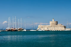 Mandraki Harbour in the Dodecanese island of Rhodes, Stock Image