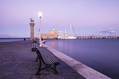 Mandraki harbour and fortress Agios Nicolaos Royalty Free Stock Photos