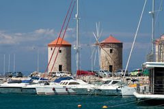 Mandraki Harbour In The Dodecanese Island Of Rhodes, Royalty Free Stock Image