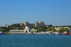 Mandraki harbour in Rhodes, Greece Royalty Free Stock Images