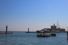 Mandraki harbour in Rhodes, Greece Royalty Free Stock Photos
