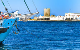 Mandraki Harbour of Rhodes, Greece Stock Photo