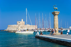 Mandraki Harbour Rhodes Greece Europe Royalty Free Stock Image
