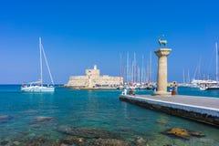Mandraki Harbour Rhodes Greece Europe Stock Photo
