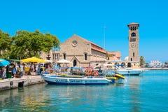 Mandraki harbour. Rhodes, Greece Royalty Free Stock Images