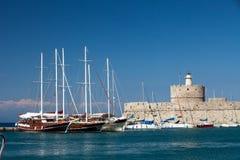 Mandraki Harbour, Rhodes Royalty Free Stock Image