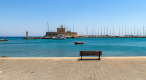 Mandraki, the Oldest harbor of Rhodes Island Stock Image