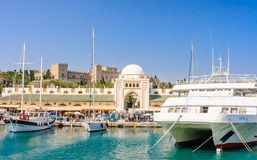Mandraki Port and New Market . Rhodes Island. Greece Stock Photography