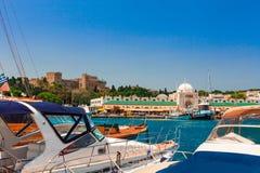 Mandraki schronienie w Rhodes Zdjęcie Royalty Free