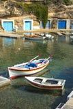 Mandrakia by i Milos i Grekland Arkivbild