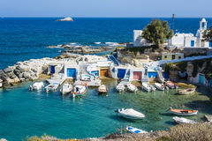 Mandrakia traditional Greek village with sirmate. Traditional fishermen's houses at Milos island, Greece Stock Images