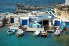 Mandrakia visserijdorp in Milos in Griekenland stock fotografie