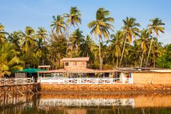 Mandrem beach Goa India. Resort huts on Mandrem beach in north Goa, India Stock Image