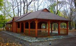 Mandril de madeira do verão em um parque no outono com Foto de Stock Royalty Free