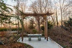 Mandril de madeira na floresta com assento de pedra Foto de Stock Royalty Free