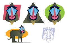 Mandrill Baboon Mascot Set Stock Photography
