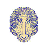 Mandrill Head Front Mandala. Illustration of a Mandrill Head Front view done in hand sketch drawing Mandala style Royalty Free Stock Photography