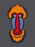 Mandrill monkey head. Icon Stock Photo