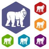 Mandrill monkey icons set hexagon. Isolated vector illustration Royalty Free Stock Photo