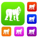 Mandrill monkey set color collection. Mandrill monkey set icon color in flat style isolated on white. Collection sings vector illustration Royalty Free Stock Photo
