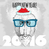 Mandrillaffe Hippie mit blauen Gläsern und Weihnachtshut Stockfotografie