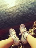 Mandrins situant la mer de roche grande Photographie stock libre de droits