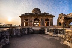 Mandu India, afghan ruins of islam kingdom, mosque monument and muslim tomb. Architectural details. Mandu India, afghan ruins of islam kingdom, mosque monument Stock Photography