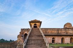 Mandu India, afghan ruins of islam kingdom, mosque monument and muslim tomb. Architectural details. Mandu India, afghan ruins of islam kingdom, mosque monument Royalty Free Stock Image