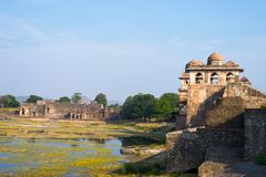 Mandu India, afghan ruins of islam kingdom, mosque monument and muslim tomb. Architectural details. Mandu India, afghan ruins of islam kingdom, mosque monument Royalty Free Stock Photos