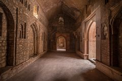 Mandu India, afghan ruins of islam kingdom, mosque monument and muslim tomb, interior details. Mandu India, afghan ruins of islam kingdom, mosque monument and Royalty Free Stock Photos