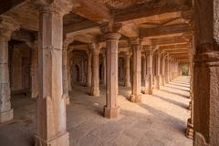 Mandu India, afghan ruins of islam kingdom, mosque monument and muslim tomb, interior details. Mandu India, afghan ruins of islam kingdom, mosque monument and Stock Photo