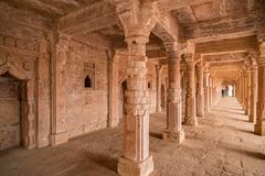 Mandu India, afghan ruins of islam kingdom, mosque monument and muslim tomb, interior details. Mandu India, afghan ruins of islam kingdom, mosque monument and Stock Photos