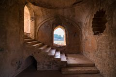 Mandu India, afghan ruins of islam kingdom, mosque monument and muslim tomb, interior details. Mandu India, afghan ruins of islam kingdom, mosque monument and stock image
