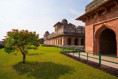 Mandu India, afghan ruins of islam kingdom, mosque monument and muslim tomb. Jahaz Mahal. Mandu India, afghan ruins of islam kingdom, mosque monument and muslim Stock Photo